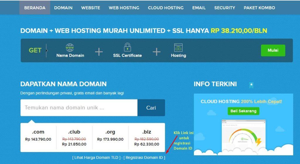 langkah pertama dalam cara daftar domain id