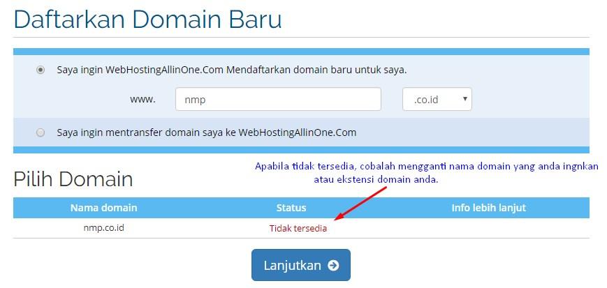 Apabila tidak tersedia ganti ekstensi nama domainnya
