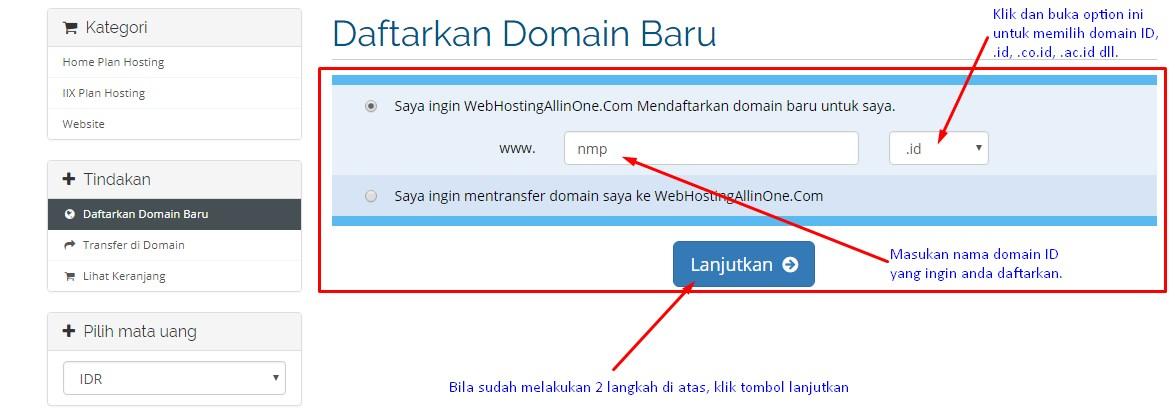 Mencari ketersediaan nama domain ID yang diingikan.