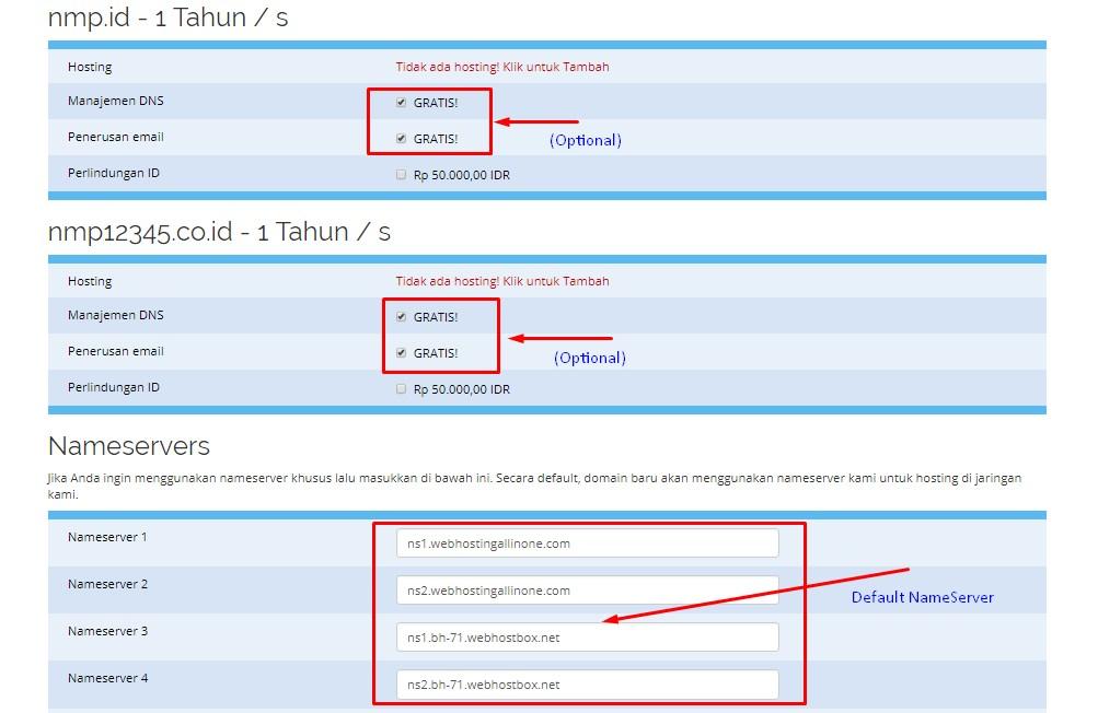 NameServers, konfigurasi ekstra untuk domain