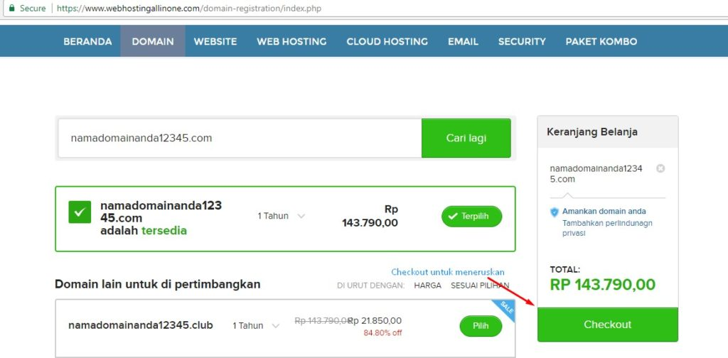 Setelah nama domain yang ada ingin daftarkan tersedia, klik tombol CheckOut untuk memasuki langkah-langkah sebelum proses pembayaran.