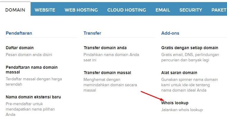 klik link Whois lookup yang tersedia di tab domain