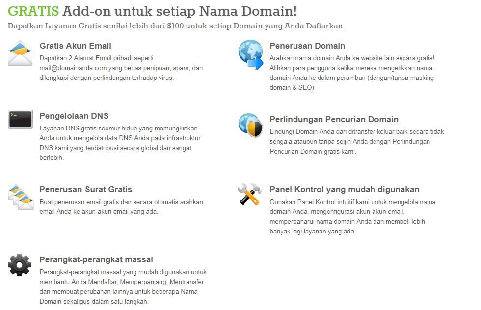 Dapatkan Gratis Add-ons untuk setiap domain di WebHostingAllinOne