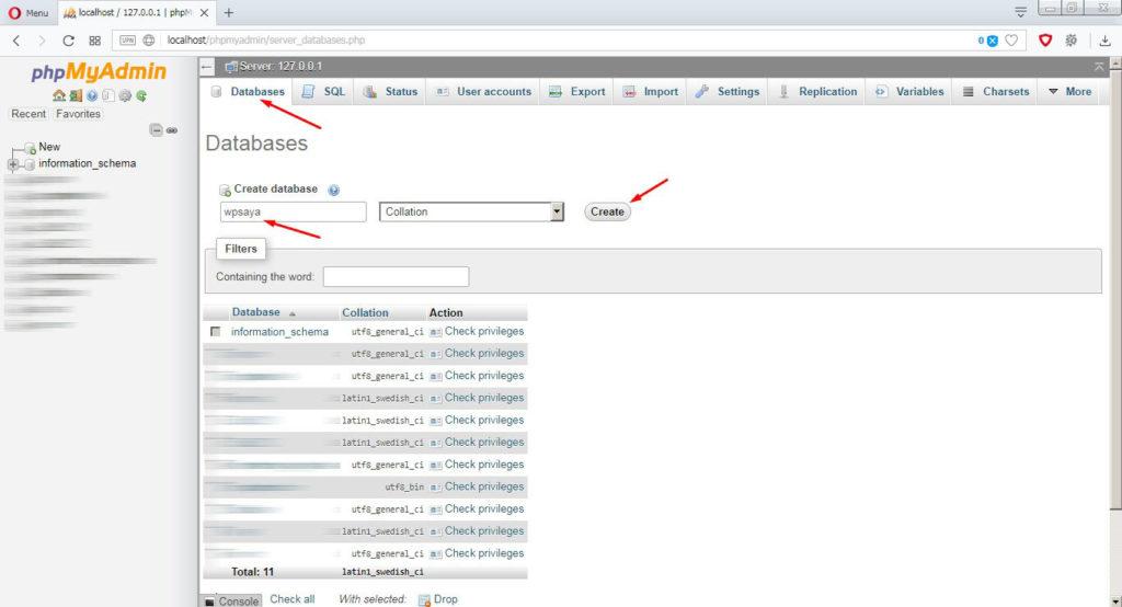 Buat database di phpmyadmin