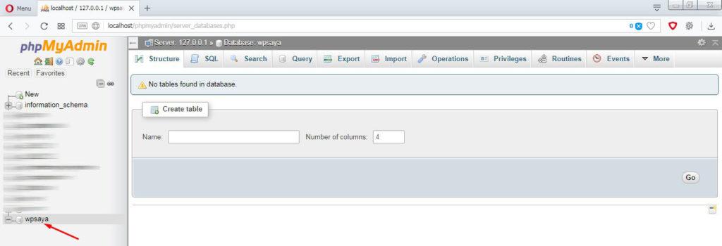Hasil pembuatan nama database