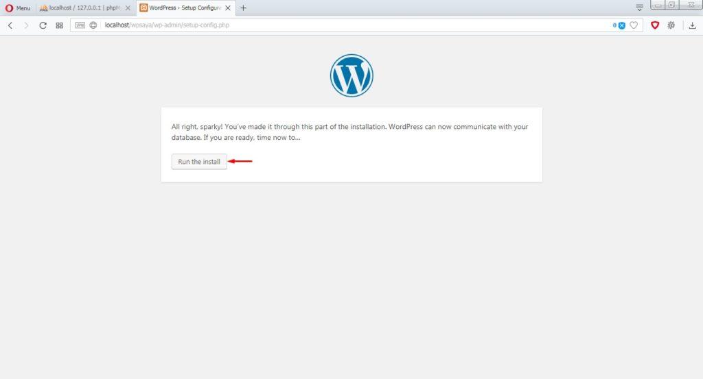 Jalankan install wordpress