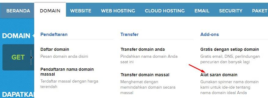 Klik link alat saran nama domain