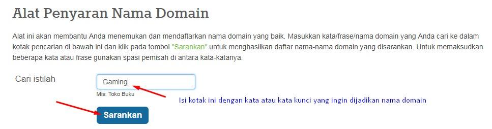 isi bagian kotak ini dengan nama kata/brand/merek yang ingin dijadikan nama domain