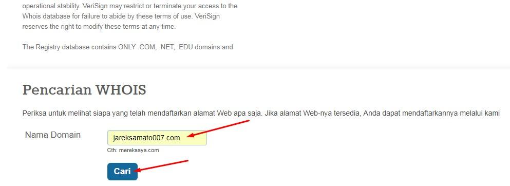 isi kotak dengan nama domain baru