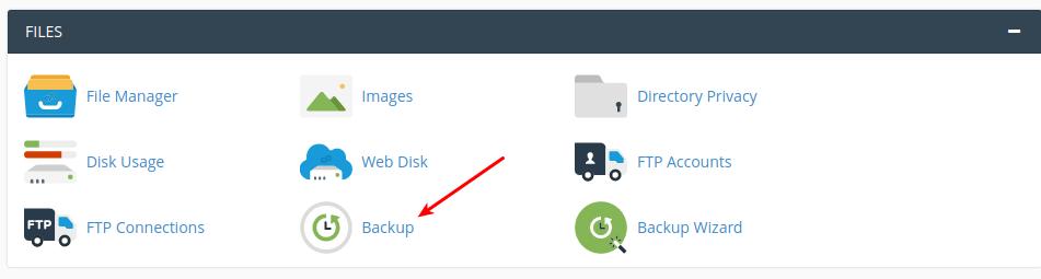 Pilih icon backup