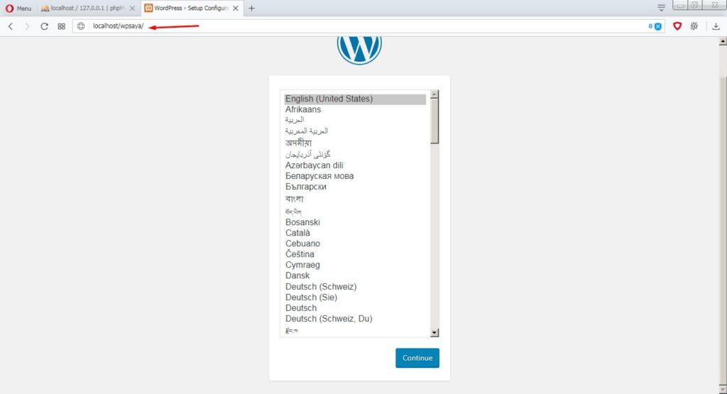 Pilihan bahasa instalasi wordpress