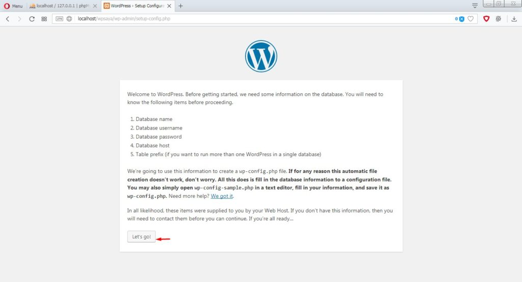 Proses install wordpress