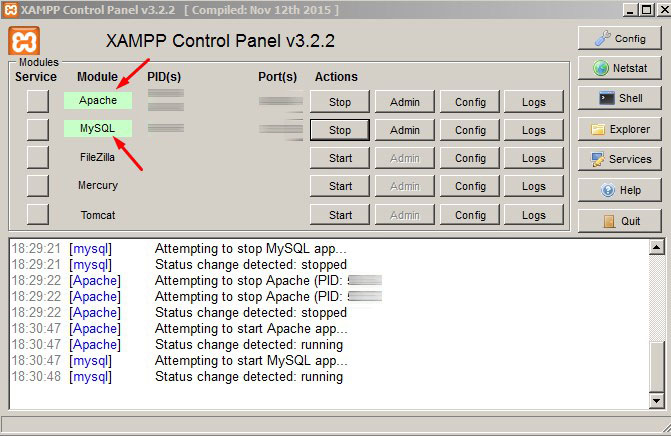 Xampp server dalam posisi aktif