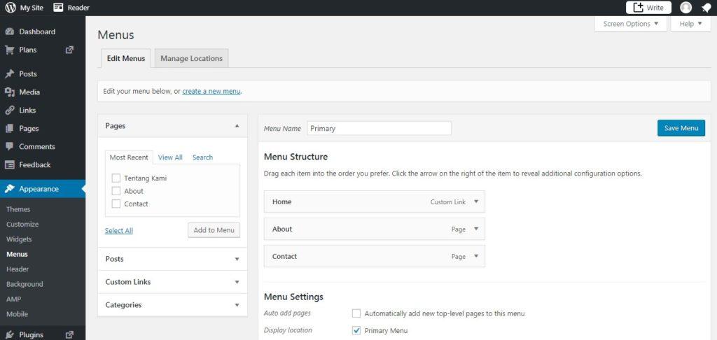 Cara Menampilkan Page Atau Halaman Baru Di WordPress 4