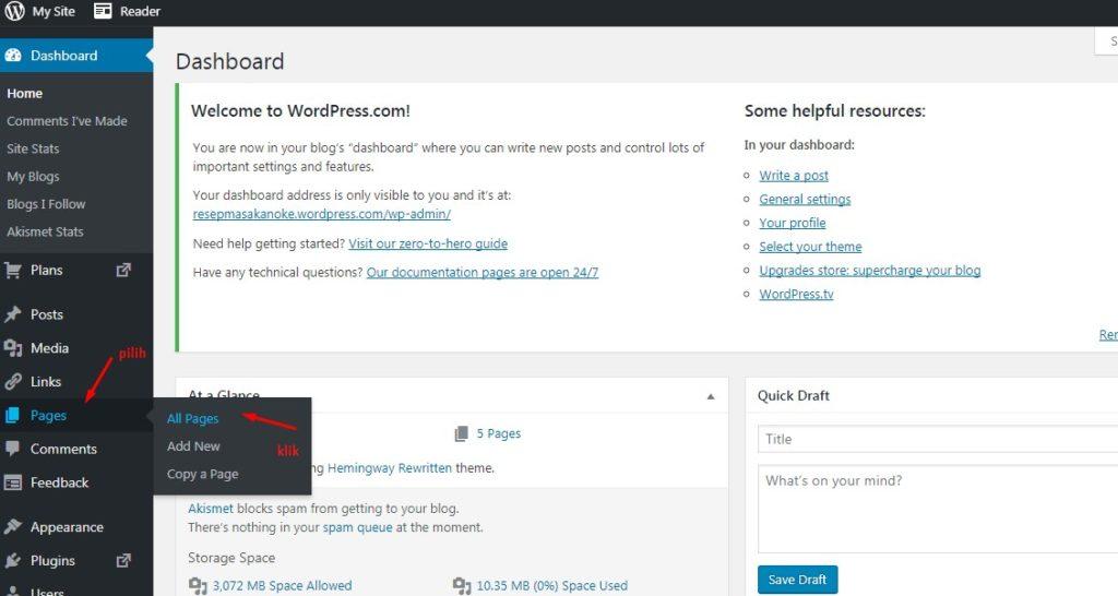 Cara Mengelola Page Atau Halaman Di WordPress 3