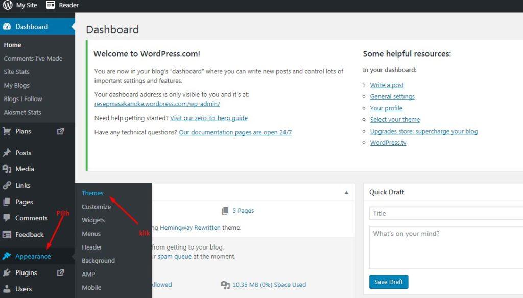 Cara Mengganti Template WordPress Melalui Dashboard 3