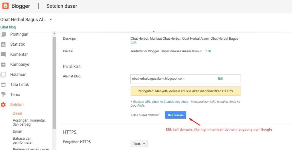 Cara Merubah Domain Blogspot Menjadi Domain Sendiri 2