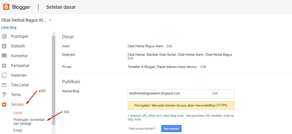 Cara Mengatur Setelan Komentar Blogger 5