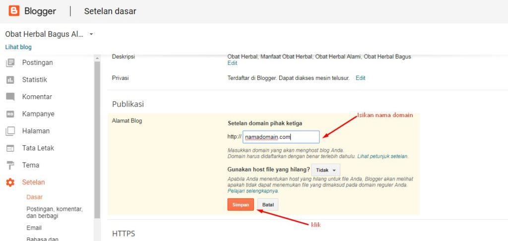 Cara Merubah Domain Blogspot Menjadi Domain Sendiri 5