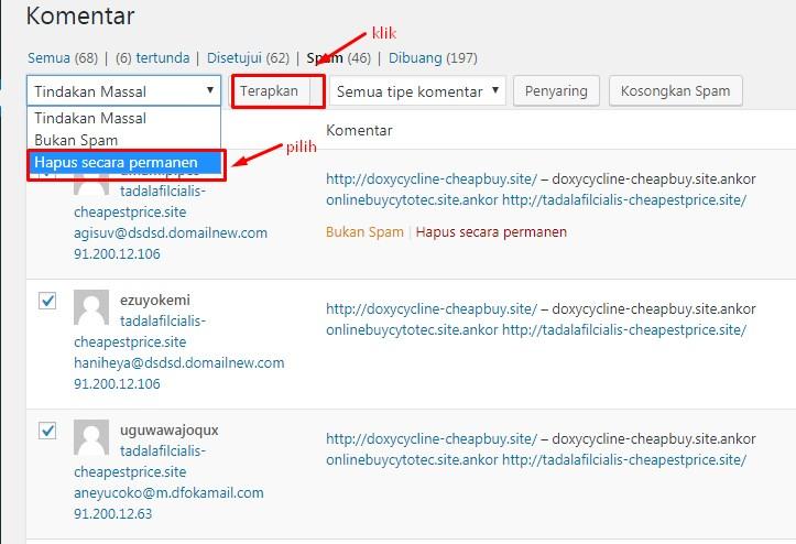 Cara Menghapus Komentar Spam Di WordPress 4