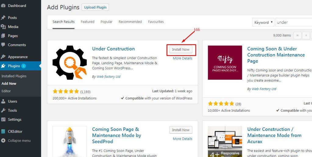 Cara Memasang Halaman Under Construction Pada WordPress 4