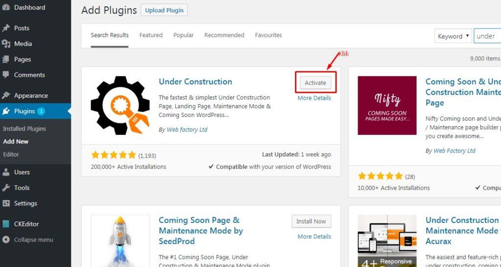 Cara Memasang Halaman Under Construction Pada WordPress 5