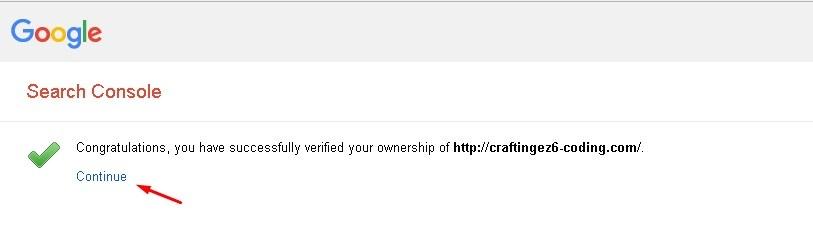 verifikasi properti webmaster tools berhasil