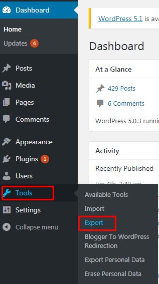 Cara Export Import Konten WordPress 1