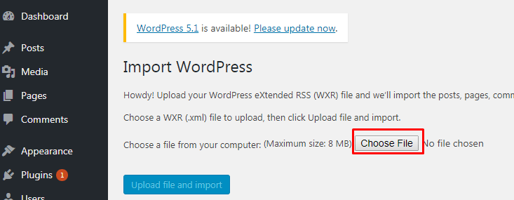 Cara Export Import Konten WordPress 7