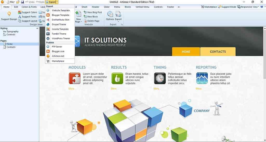 Halaman muka Artisteer gambar screenshot software Artisteer