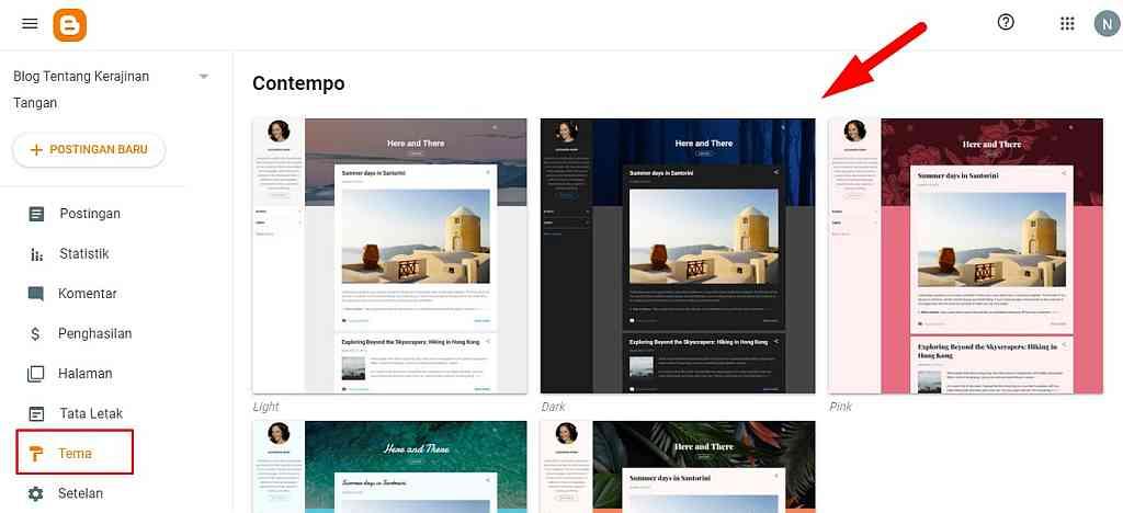 Pilih template bawaan Blogger Upload Template Blogger